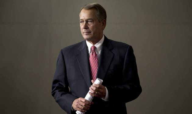 FILE - In this Feb. 14, 2013, file photo, House Speaker John Boehner of Ohio arrives to meet with reporters on Capitol Hill in Washington. Republicans and other fiscal conservatives keep insisting on more federal austerity and a smaller government. Without much fanfare or acknowledgement, they've already gotten much of both. (AP Photo/J. Scott Applewhite, File)