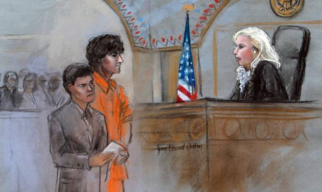 CORRECTS ID OF ATTORNEY TO MIRIAM CONRAD INSTEAD OF JUDY CLARKE - This courtroom sketch depicts Boston Marathon bombing suspect Dzhokhar Tsarnaev standing with his lawyer Miriam Conrad, left, before Magistrate Judge Marianne Bowler, right, during his arraignment in federal court Wednesday, July 10, 2013 in Boston. The 19-year-old has been charged with using a weapon of mass destruction, and could face the death penalty. (AP Photo/Jane Flavell Collins)