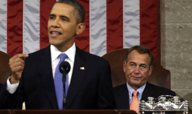 House Speaker John Boehner of Ohio listens at right as President Barack Obama gives his State of the Union address during a joint session of Congress on Capitol Hill in Washington, Tuesday Feb. 12, 2013. (AP Photo/Charles Dharapak, Pool)