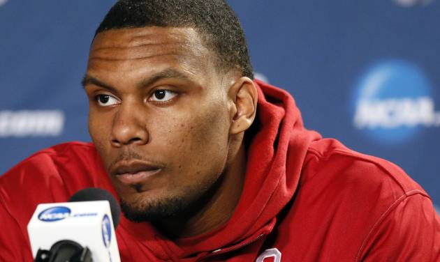 UNIVERSITY OF OKLAHOMA / NCAA TOURNAMENT: Oklahoma's Romero Osby (24) listens to a question from the media during the practice and press conference day for the second round of the NCAA men's college basketball tournament at the Wells Fargo Center in Philadelphia, Thursday, March 21, 2013. OU will play San Diego State in the second round on Friday. Photo by Nate Billings, The Oklahoman