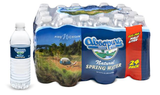 """This product image provided Monday, March 17, 2014 by Absopure shows Absopure bottled water packaging designed to promote the """"Pure Michigan"""" tourism campaign. Starting this month, 24 and 35 packs of Absopure Natural Spring Water sold in the Midwest will carry packaging co-branded with """"Pure Michigan."""" In the coming months, other Absopure products nationally will be packaged with """"Pure Michigan"""" imagery. (AP Photo/Absopure)"""