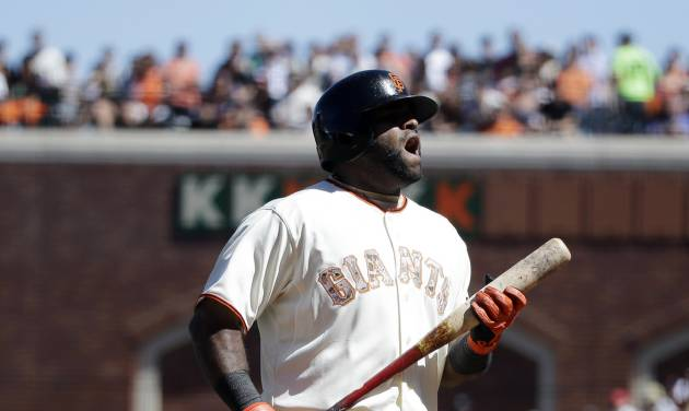 San Francisco Giants' Pablo Sandoval protests a strikeout call during the eighth inning of a baseball game against the Chicago Cubs on Monday, May 26, 2014, in San Francisco. Chicago won 8-4. (AP Photo/Marcio Jose Sanchez)