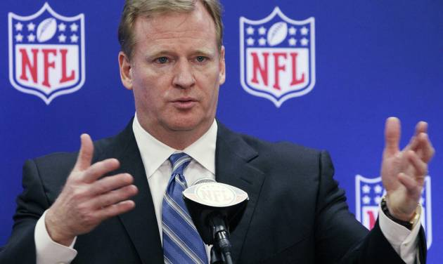FILE - This June 21, 2011 file photo shows NFL commissioner Roger Goodell speaks during a news conference at the NFL football owners meetings in Rosemont, Ill. NFL players' union files a grievance challenging Goodell's authority to suspend four current and former New Orleans players who took part in the Saints' bounty program from 2009-11. (AP Photo/Nam Y. Huh, File)