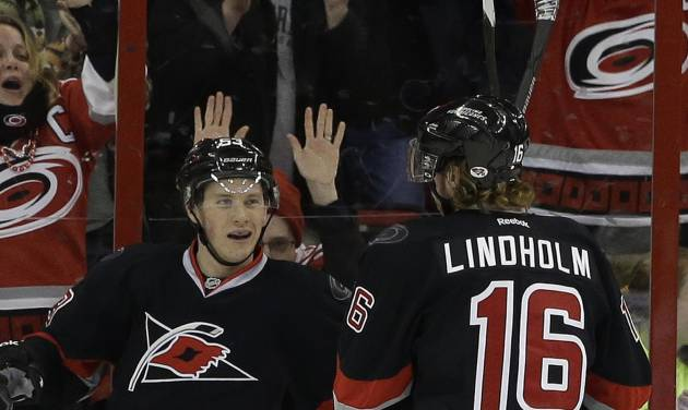 Carolina Hurricanes' Jeff Skinner, left, celebrates his goal against the Toronto Maple Leafs with Elias Lindholm (16), of Sweden, during the first period of an NHL hockey game in Raleigh, N.C., Thursday, Jan. 9, 2014. Carolina won 6-1. (AP Photo/Gerry Broome)