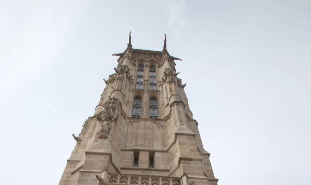 The Tour Saint-Jacques is seen in Paris, Thursday, Aug. 22, 2013. The Tour Saint-Jacques, a gothic bell tower in central Paris, opened to the public last month for the first time since it was built in the early 16th century. (AP Photo/Michel Euler)