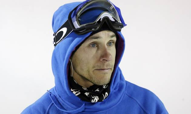 Simon Dumont, of the United States, looks on after competing during the men's U.S. Grand Prix freestyle halfpipe skiing event Saturday, Jan. 18, 2014, in Park City, Utah. (AP Photo/Rick Bowmer)