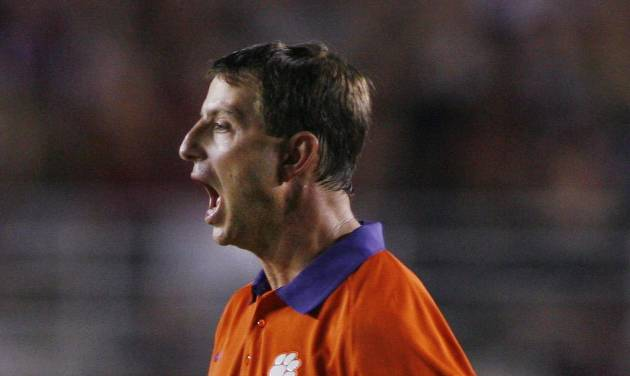 Clemson coach Dabo Swinney yells during the second half of an NCAA college football game against Florida State on Saturday, Sept. 22, 2012, in Tallahassee, Fla. (AP Photo/Phil Sears)