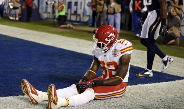Kansas City Chiefs wide receiver Dwayne Bowe sits after missing a pass to the end zone against the San Diego Chargers during an NFL football game, Thursday, Nov. 1, 2012, in San Diego. The Chargers won 31-13. (AP Photo/Gregory Bull)