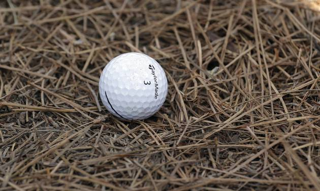Ernie Els, of South Africa, ball rests in pine needles on the third hole during a practice round for the U.S. Open golf tournament in Pinehurst, N.C., Wednesday, June 11, 2014. The tournament starts Thursday. (AP Photo/Eric Gay)