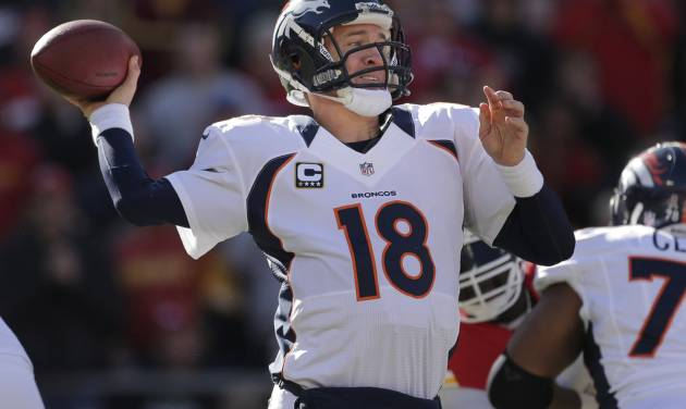 Denver Broncos quarterback Peyton Manning (18) passes during the first half of an NFL football game against the Kansas City Chiefs at Arrowhead Stadium in Kansas City, Mo., Sunday, Nov. 25, 2012. (AP Photo/Charlie Riedel)