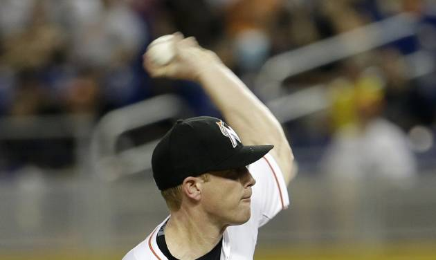 Miami Marlins' Randy Wolf pitches against the Tampa Bay Rays in the first inning of an interleague  baseball game in Miami, Monday, June 2, 2014. (AP Photo/Alan Diaz)