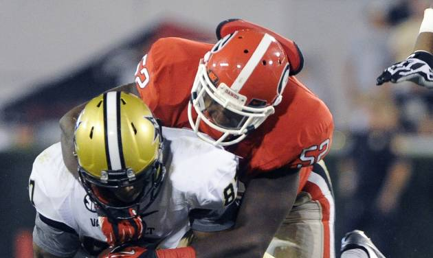 Vanderbilt wide receiver Jordan Matthews (87) is brought down by Georgia linebacker Amarlo Herrera (52) during the second half of an NCAA college football game on Saturday, Sept. 22, 2012, in Athens, Ga. (AP photo/John Amis)