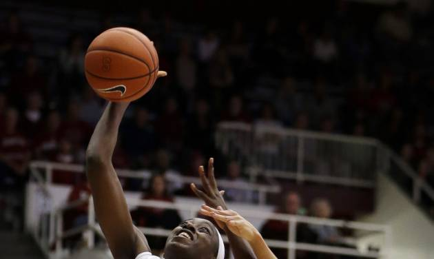 Stanford's Chiney Ogwumike (13) shoots over Oregon State's Gabriella Hanson, right, during the second half of an NCAA college basketball game Sunday, Jan. 5, 2014, in Stanford, Calif. (AP Photo/Ben Margot)