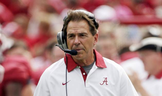 Alabama Coach Nick Saban patrols the sidelines in the first half of an NCAA college football game against Western Kentucky at Bryant Denny Stadium in Tuscaloosa, Ala., Saturday, Sept. 8, 2012. (AP Photo/Dave Martin)
