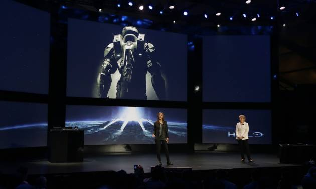 "FILE - In this May 21, 2013 file photo, Nancy Tellem, right, the entertainment and digital media president of Microsoft, and Bonnie Ross, left, general manager and studio head of 343 Industries, announce a new Halo live-action TV series for Xbox Live, during an event to unveil the next-generation Xbox One entertainment and gaming console system, in Redmond, Wash. Master Chief is returning to the battlefield next year. Microsoft announced plans Friday, May 16, 2014, to release the video game sequel ""Halo 5: Guardians"" for the Xbox One and a ""Halo"" television series to be produced by Steven Spielberg in fall 2015. (AP Photo/Ted S. Warren, file)"