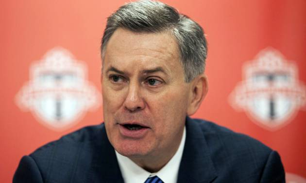 FILE - This Sept. 20, 2013, file photo, shows Maple Leaf Sports and Entertainment President and CEO Tim Leiweke speaking to reporters during a soccer news conference in Toronto. The CEO of Maple Leaf Sports & Entertainment will step down next year. The entity announced Thursday, Aug. 20, 2014,  that Leiweke will stay until June 30 or a successor is appointed.  (AP Photo/The Canadian Press, Jesse Johnston, File)