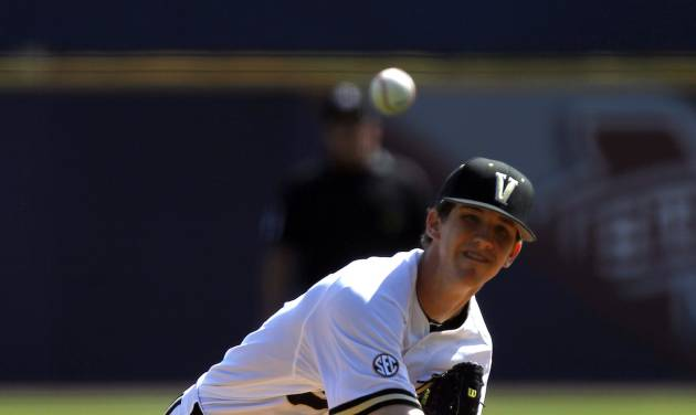 Walker Buehler pitches for Vanderbilt against Tennessee during the Southeastern Conference NCAA college baseball tournament on Tuesday, May 20, 2014, in Hoover, Ala. (AP Photo/Butch Dill)