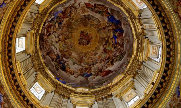 This May 2, 2014 photo shows a detail of the ornately decorated ceiling of the Royal Chapel of the Treasure of San Gennaro in the Naples Cathedral in Naples, Italy. The cathedral, which has a number of sculptures and frescoes, is free to visit and open daily. (AP Photo/Michelle Locke)