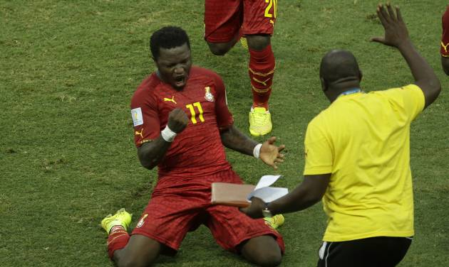 Ghana's Sulley Muntari celebrates after his team scored their second goal of the game during the group G World Cup soccer match between Germany and Ghana at the Arena Castelao in Fortaleza, Brazil, Saturday, June 21, 2014. (AP Photo/Themba Hadebe)