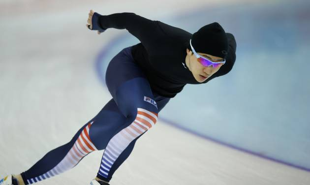 South Korean speedskater Mo Tae-Bum trains at the Adler Arena Skating Center during the 2014 Winter Olympics in Sochi, Russia, Friday, Feb. 7, 2014. (AP Photo/Pavel Golovkin)