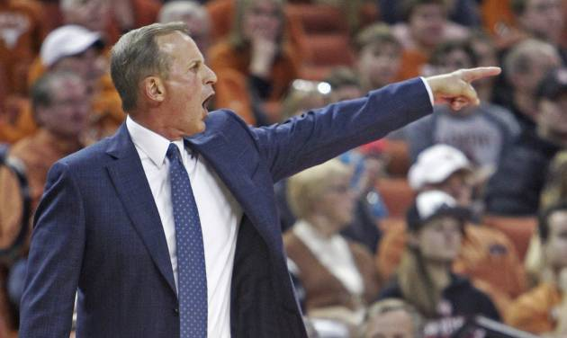 Texas coach Rick Barnes calls out to his team during the second half of an NCAA college basketball game against Oklahoma, Saturday, Jan. 4, 2014, in Austin, Texas. Oklahoma won 88-85. (AP Photo/Michael Thomas)