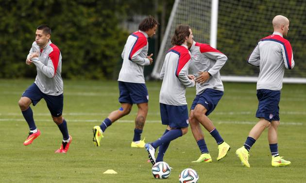 United States' Clint Dempsey works out during a training session in Sao Paulo, Brazil, Friday, June 20, 2014. The U.S. will play against Portugal in group G of the 2014 soccer World Cup on June 22. (AP Photo/Julio Cortez)