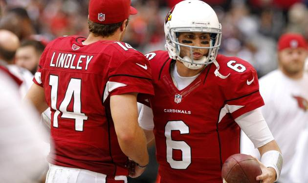 Arizona Cardinals quarterback Brian Hoyer (6) replaces teammate Ryan Lindley during the second half of an NFL football game, Sunday, Dec. 23, 2012, in Glendale, Ariz. (AP Photo/Rick Scuteri)