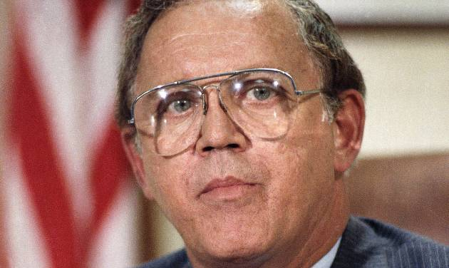 FILE - This Dec. 16, 1986 file photo shows Sen. Warren Rudman, R-N.H. on Capitol Hill in Washington. Rudman, who co-authored a ground-breaking budget balancing law, championed ethics and led a commission that predicted the danger of homeland terrorist attacks before 9/11, has died. He was 82. (AP Photo/Ron Edmonds, File)
