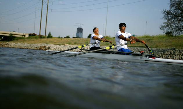 Paralympic rower Tony Davis, practices with rowing partner Jacqui Kapinowski on the Oklahoma River in Oklahoma City on Tuesday, June 14, 2011. A car accident left Davis, a former Navy Rescue Diver, paralyzed. He taught himself to walk with difficulty, and has been rowing for two years. Photo by John Clanton, The Oklahoman