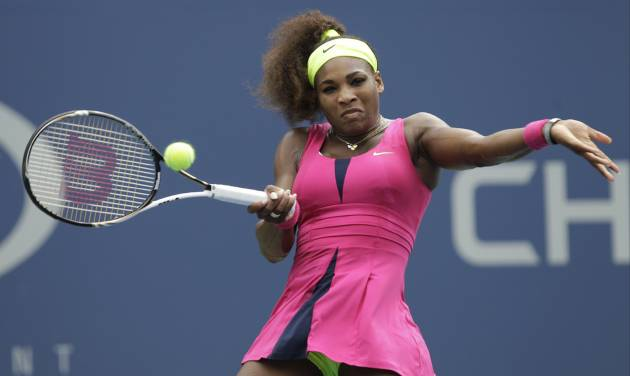Serena Williams returns a shot to Czech Republic's Andrea Hlavackova in the fourth round of play at the 2012 US Open tennis tournament, Monday, Sept. 3, 2012, in New York. (AP Photo/Kathy Willens)