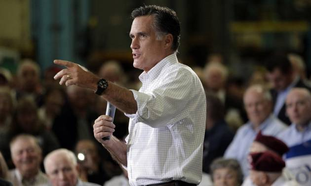 Republican presidential candidate, former Massachusetts Gov. Mitt Romney speaks at a town hall-style meeting in Euclid, Ohio, Monday, May 7, 2012. (AP Photo/Jae C. Hong)