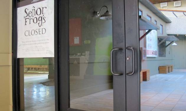 A Senor Frog's restaurant displays a closed sign, Friday, Nov. 2, 2012 in Honolulu. The U.S. Equal Employment Opportunity Commission is suing the Senor Frog's bar and restaurant chain, saying its CEO, other high level executives and managers sexually harassed female employees at its now-closed Waikiki location. (AP Photo/Audrey McAvoy)