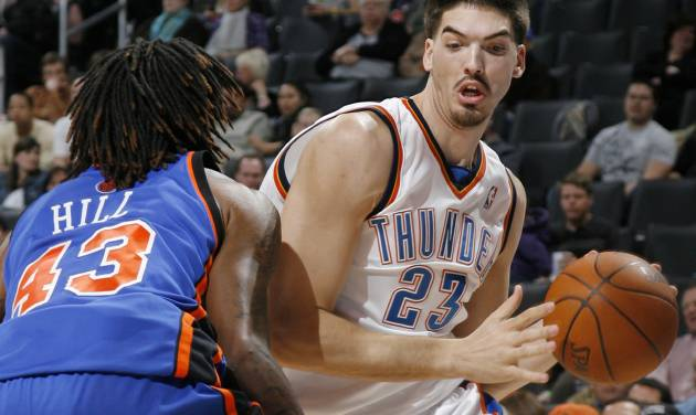 Thunder center Byron Mullens has worked hard with the Tulsa 66ers this past season, and is working hard in the off-season to move up the Oklahoma City depth chart. PHOTO BY NATE BILLINGS, THE OKLAHOMAN