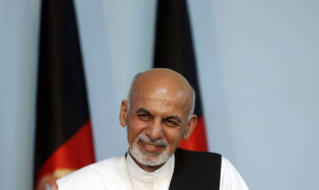 Afghan presidential candidate Ashraf Ghani Ahmadzai addresses a news conference in Kabul, Afghanistan, Tuesday, July 8, 2014. The Afghan Independent Election Commission released preliminary election results Monday showing former finance minister Ashraf Ghani Ahmadzai well in the lead for the presidency but said no winner could be declared because millions of ballots were being audited for fraud.(AP Photo/Massoud Hossaini)