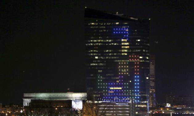 In this April 5, 2014 file photo shown is the classic video game Tetris played on the 29-story Cira Centre in Philadelphia, April 5, 2014, using hundreds of LED lights embedded in its glass facade. The spectacle kicks off a citywide series of events called Philly Tech Week and also celebrates the upcoming 30th anniversary of Tetris. (AP Photo/ Joseph Kaczmarek, File)