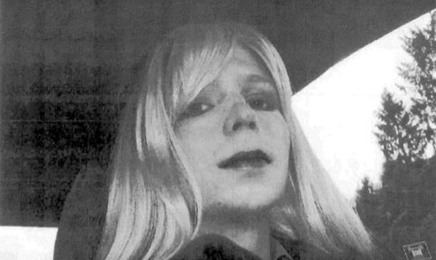 FILE - In this undated file photo provided by the U.S. Army, Pfc. Chelsea Manning poses for a photo wearing a wig and lipstick.The American Civil Liberties Union and an attorney said Tuesday, Aug. 12, 2014 that  convicted national security leaker Manning isn't receiving medical treatment for her gender identity condition at the military prison in Fort Leavenworth, Kansas, as previously approved by Defense Secretary Chuck Hagel. (AP Photo/U.S. Army, File)