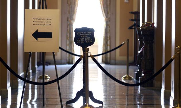 A hallway is closed on the House side on Capitol Hill in Washington, Thursday, July 10, 2014, because of an industrial spill involving ongoing asbestos abatement work. (AP Photo/Lauren Victoria Burke)