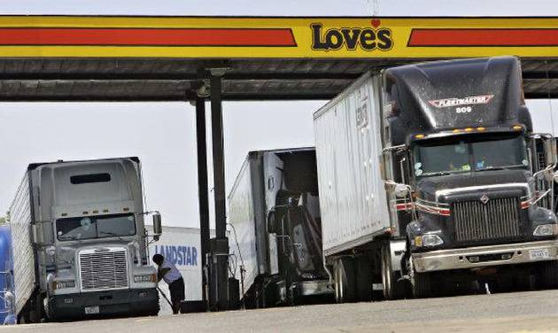 Drivers fuel trucks at a Love's station in Oklahoma City. The Oklahoman Archives