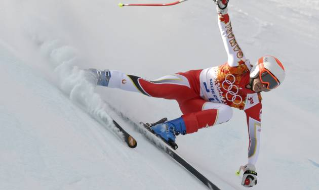 Canada's Marie-Michele Gagnon makes a turn during the downhill portion of the women's supercombined at the Sochi 2014 Winter Olympics, Monday, Feb. 10, 2014, in Krasnaya Polyana, Russia. (AP Photo/Charles Krupa)