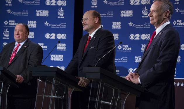 Republican New York mayoral candidates, from left, John Catsimatidis, Joe Lhota, and George McDonald participate in a televised debate in New York Wednesday, Aug. 28, 2013. (AP Photo/Craig Ruttle)