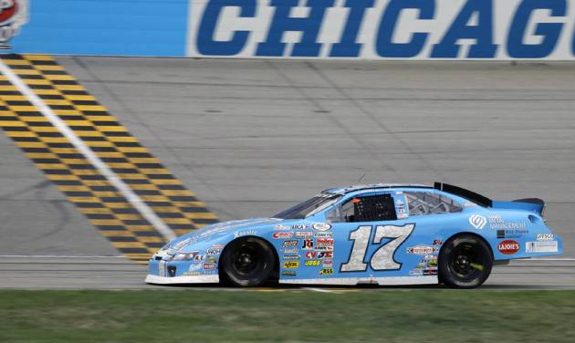 Corey LaJoie crosses the finish line to win the ARCA Racing Series auto race at Chicagoland Speedway in Joliet, Ill., Sunday, July 21, 2013. (AP Photo/Nam Y. Huh)
