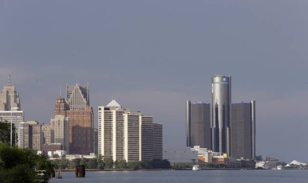 The Detroit skyline is seen on Thursday, July 18, 2013, in Detroit. On Thursday the city became the largest city in U.S. history to file for bankruptcy when State-appointed emergency manager Kevyn Orr asked a federal judge for municipal bankruptcy protection. (AP Photo/Carlos Osorio)
