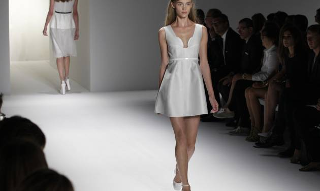 Models wear designs from the Calvin Klein Spring 2013 collection at Fashion Week in New York, Thursday, Sept. 13, 2012. (AP Photo/Kathy Willens)