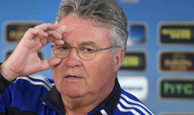 FILE - In this Wednesday March 6, 2013 file photo, Anzhi's head coach Guus Hiddink speaks during a news conference, at Luzhniki stadium in Moscow, Russia. On Friday, Aug. 1, 2014, Guus Hiddink vowed on his first day as the Netherlands coach to put together a team that will play attractive but practical football. Hiddink has been set to replace Louis van Gaal since March. Van Gaal accepted the top job at Manchester United before leading the Netherlands on a flashy run to third at the World Cup in Brazil. (AP Photo/Ivan Sekretarev, File)