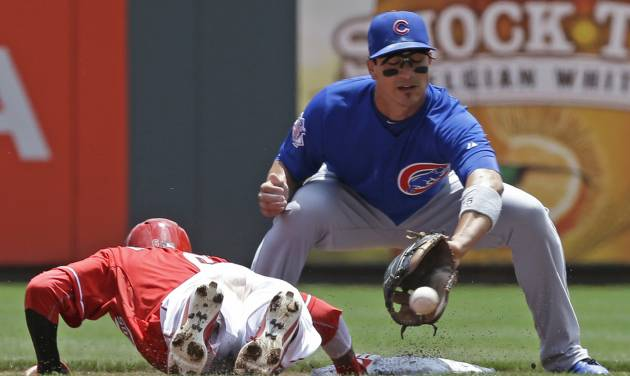 Cincinnati Reds' Billy Hamilton, left, dives safely back to second base as Chicago Cubs second baseman Darwin Barney catches a pickoff throw in the first inning of a baseball game, Tuesday, July 8, 2014, in Cincinnati. (AP Photo/Al Behrman)
