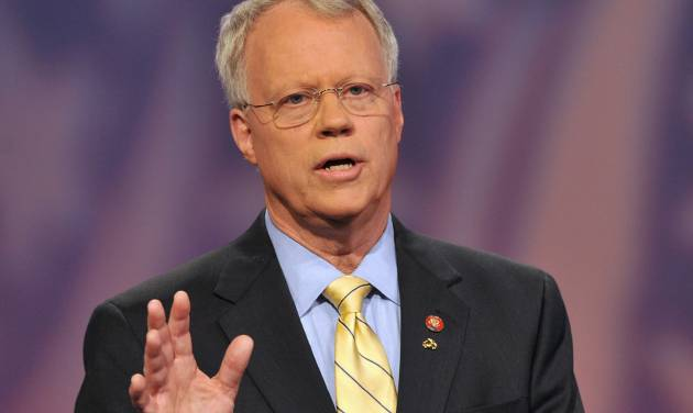 "FILE - In this Wednesday, July 2, 2008 file photo, 10th Congressional District Republican candidate Rep. Paul Broun speaks on the set of Georgia Public television in Atlanta. The Georgia representative said in videotaped remarks on Sept. 27, 2012 that evolution, embryology and the Big Bang theory are ""lies straight from the pit of hell"" meant to convince people that they do not need a savior. The Republican lawmaker made those comments during a speech at a sportsman's banquet at Liberty Baptist Church in Hartwell. Broun, a medical doctor, is running for re-election in November unopposed by Democrats. (AP Photo/Gregory Smith)"