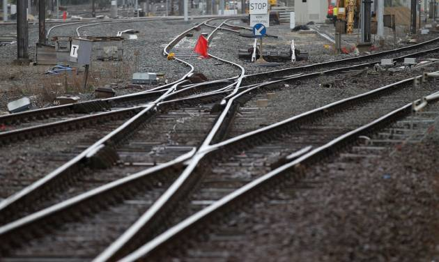 A red flag blocks the tracks at the main train station in Ghent, western Belgium, Wednesday, Oct. 3, 2012. A 24-hour strike by Belgian rail workers on Wednesday paralyzed train traffic throughout Belgium and the international high-speed service to London and Paris. The strike, which started late Tuesday, reached its peak during the Wednesday morning rush hour when tens of thousands of commuters had to take to traffic-choked highways to get into the capital or work. (AP Photo/Yves Logghe)