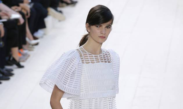 A model wears a creation by fashion designer Clare Waight Keller for Chloe's ready to wear Spring-Summer 2013 collection, presented in Paris, Monday, Oct. 1, 2012. (AP Photo/Francois Mori)