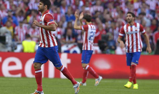 Atletico's Diego Costa runs, during the Champions League final soccer match between Atletico Madrid and Real Madrid, at the Luz stadium, in Lisbon, Portugal, Saturday, May 24, 2014. (AP Photo/Manu Fernandez)
