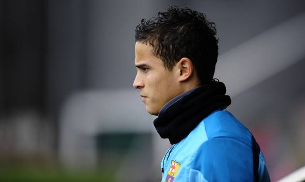 FC Barcelona's Ibrahim Afellay looks on during a training session at the Sports Center FC Barcelona Joan Gamper in San Joan Despi, Spain, Saturday, Jan. 18, 2014. (AP Photo/Manu Fernandez)